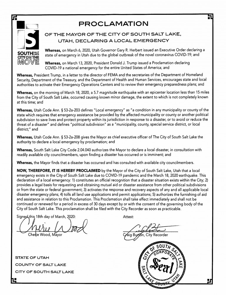 Proclamation - SSL Local Emergency